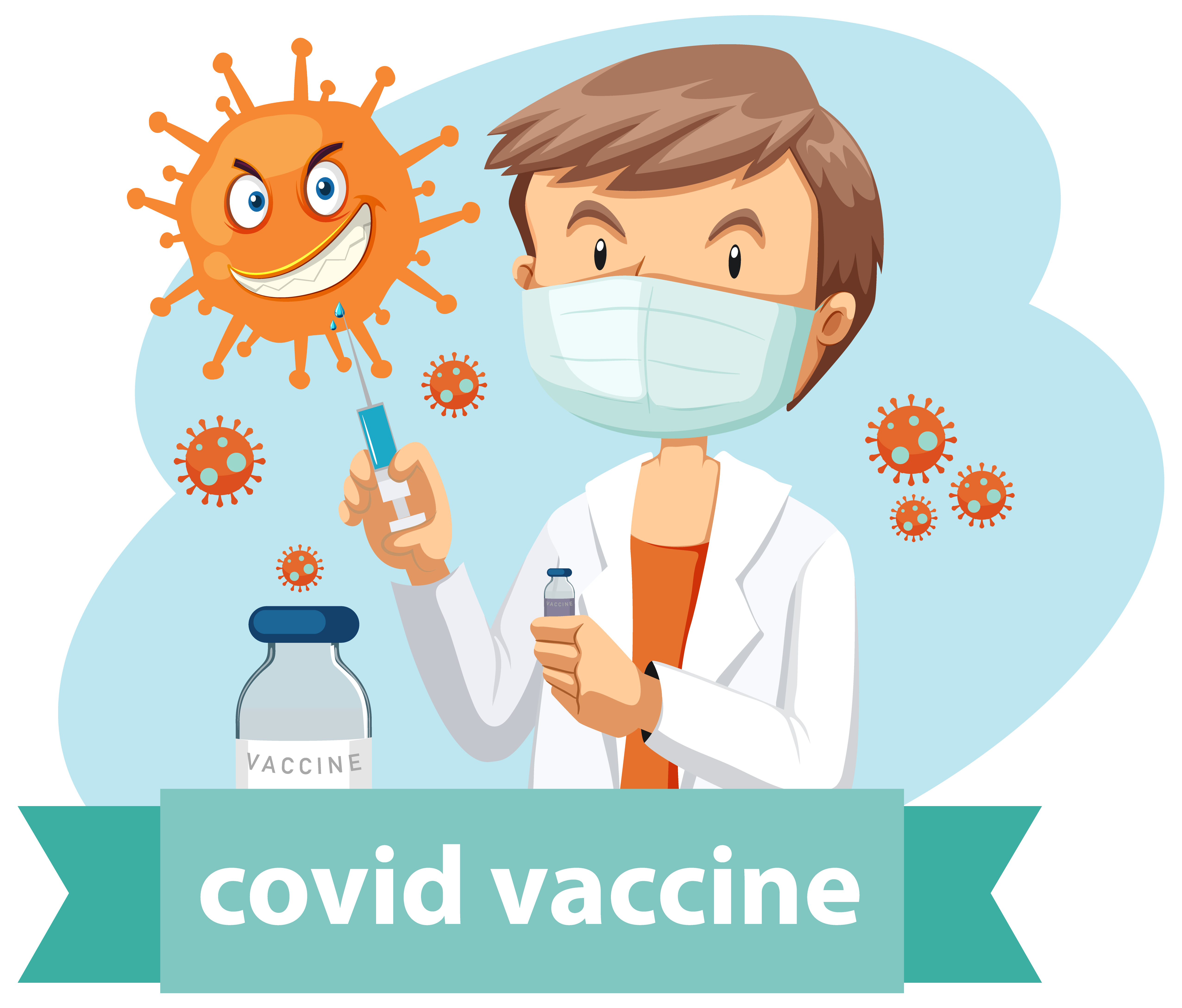 A doctor wears mask and holding medical syringe with needle for covid-19 or coronavirus logo or banner illustration