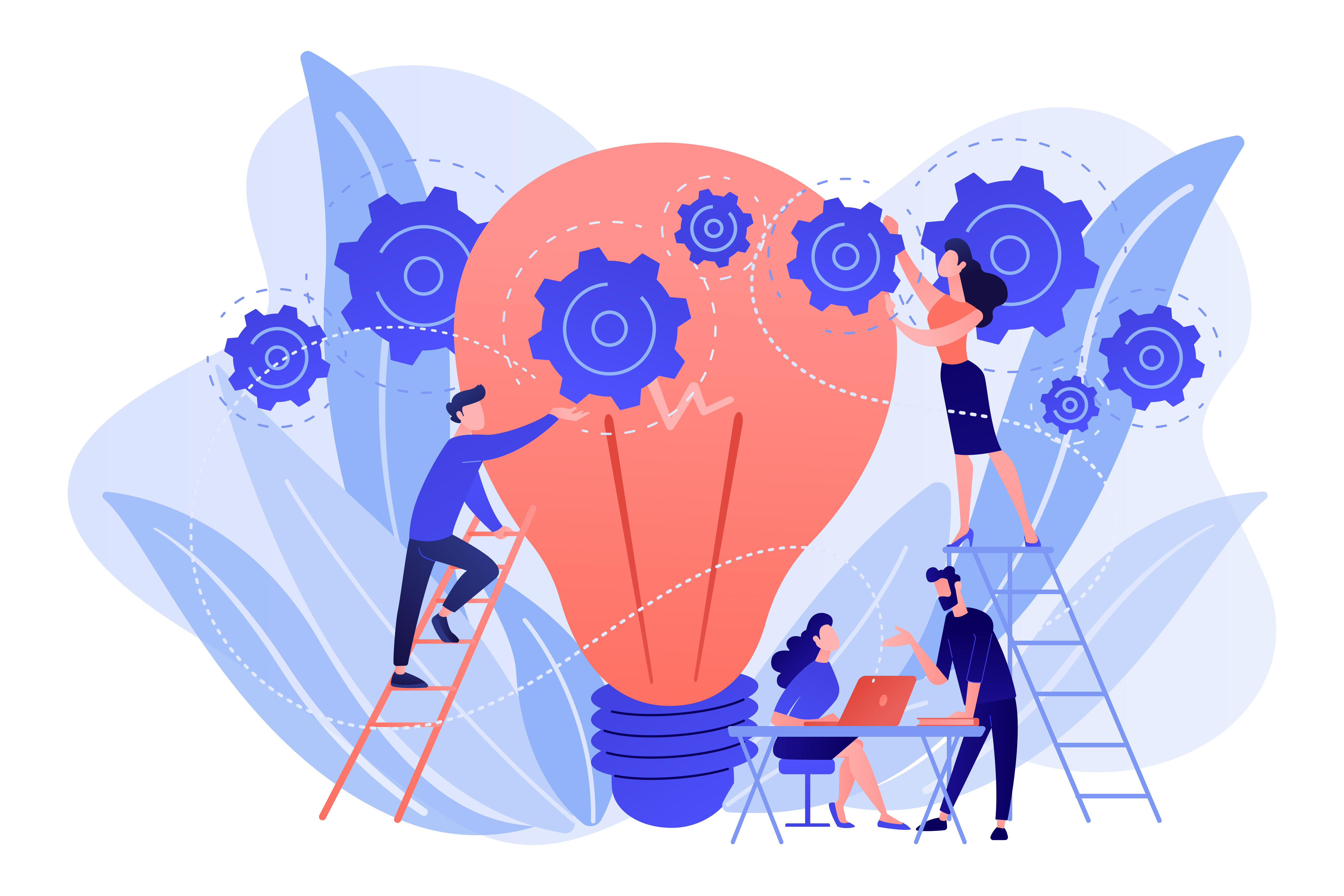 Business team putting gears on big lightbulb. New idea engineering, business model innovation and design thinking concept on white background. Pink coral blue vector isolated illustration